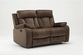 Blackjack Furniture The Elton Collection Modern Reclining Living Room/Den Loveseat, Brown