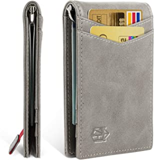 Minimalist Slim Bifold Front Pocket Wallet with Money Clip for men,Durable&Humane Advanced Leather&Effective RFID Blocking