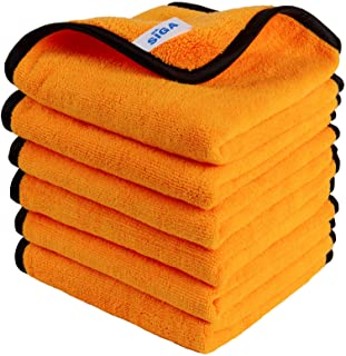 MR.SIGA Professional Premium Microfiber Towels for Household Cleaning, Dual-Sided Car Washing and Detailing Towels, Gold, ...