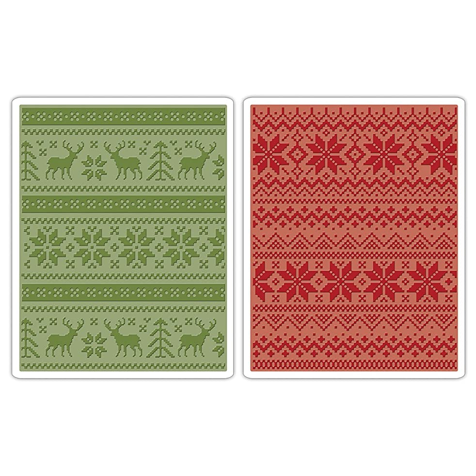 Sizzix Texture Fades A2 Embossing Folders, Holiday Knits by Tim Holtz, 2-Pack