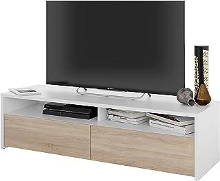 Mueble de Salon modulo de Comedor Kioto Acabado Color Blanco Artik y Roble Canadian Medidas: 130 cm (Ancho) x 355 cm (...