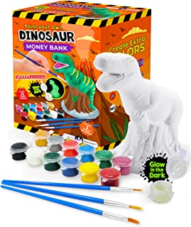 Best Original Stationery Paint Your Own Dinosaur Money Bank Craft Kit, Toddler Painting Set, Dinosaur Gifts for Boys Review