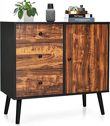 high quality Giantex Storage outlet sale Cabinet Buffet Sideboard with 3 Drawers, 1 Side Cabinet, Adjustable Shelf and Wooden Legs, Floor Cabinet for Dining Room, Living online Room, Entryway, Bedroom Freestanding Console Table sale