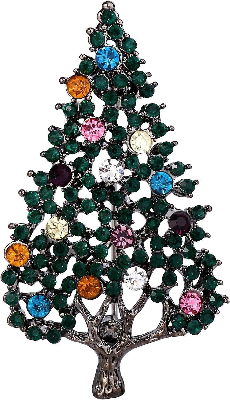 EVER FAITH Austrian Crystal Hollow-Out Christmas Tree Brooch Pin