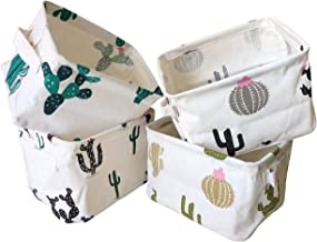 (Cream) - Storage Bins Foldable Cactus Storage Basket for Nursery, Kids Toys, Makeup, Small Items, Desktop Organisation, S...