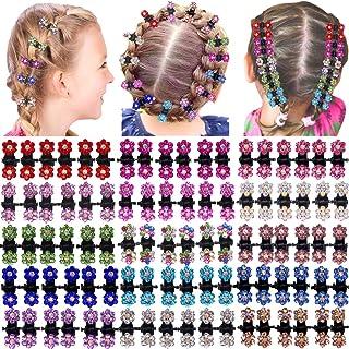 90 قطعه دختران عزیزم کلیپ های موی کریستال کریستال کریستال کریستال کریستال های کوچک موهای رنگی گل های رنگی گل های رنگی برای کودکان و نوجوانان لوازم جانبی زنانه مو (6 رنگ X15)