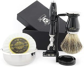Haryali London 5 stuks heren scheerset 3 rand scheermes, zwarte dassenhaarborstel, kom, zeep en standaard perfecte set voo...