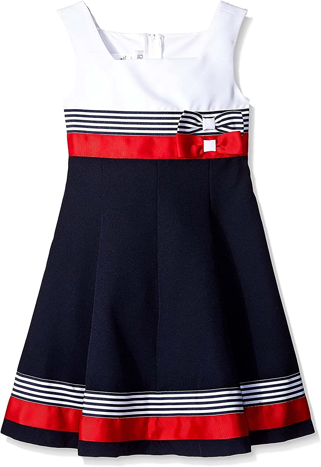 Little Girls 2T-6X Double Bow Colorblock Nautical Resort Fit Flare Dress