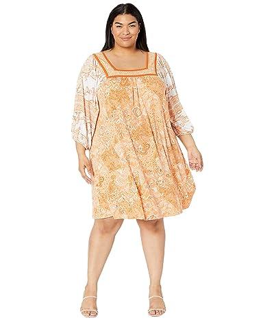 MICHAEL Michael Kors Plus Size Paisley Square Neck Border Dress Women