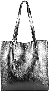 Damen Leder Tasche Set 2in1 Shopper Schultertasche HOBO Bag Umhängetasche Schmucktasche DIN-A4 Antik Silber