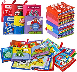 FunsLane Soft Cloth Books for Babies First Year Gift, Baby Activity Fabric Non-Toxic Crinkle Books, for Infants Boys and Girls Early Educational Learning Toys, Perfect for Baby Shower(Pack of 6)
