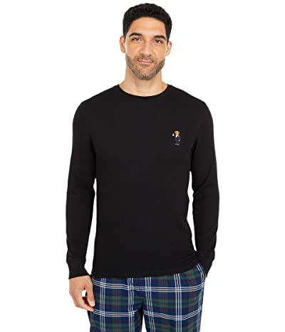 Polo Ralph Lauren Midweight Waffle Long Sleeve Crew (Polo Black/Martini Bear) Men