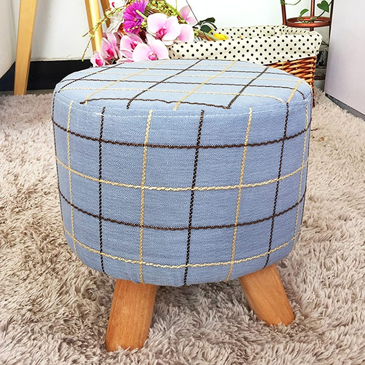 Wooden Bench Round upholstered Footstool Living Room Fabric Stool Sofa Small Round Stool Home Entrance shoes Bench Fashion Small Bench Coffee Table Stool