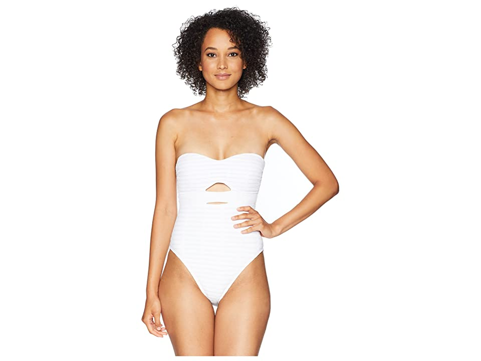 Kenneth Cole Off The Grid Bandeau Mio One-Piece Swimsuit (White) Women's Swimsuits One Piece