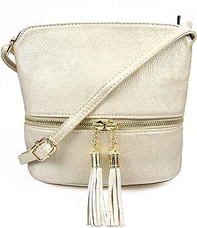 DELUXITY | Crossbody Zipper Bag | Tassel Accent Mini Purse | Adjustable & Detachable Strap |