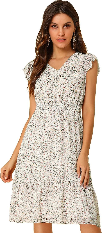 Allegra K Women's Floral Flutter Sleeves V Neck Smocked Ruffle Dress