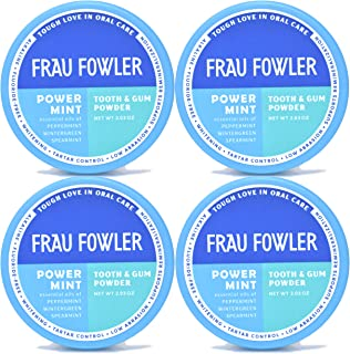Frau Fowler Natural Oral Care - POWER MINT Tooth Powder, 4 Pack, Botanically Clean, Teeth-Whitening, Remineralizing, Fluoride Free, Gluten Free, SLS Free -Restores Enamel and Freshens Breath, 8 oz