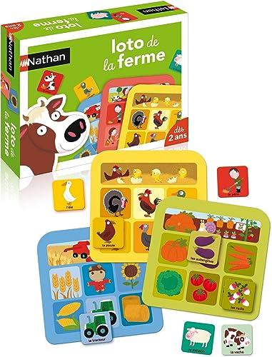 Nathan - Loto ferme - Jeu éducatif en carton pour enfant dès 2 ans