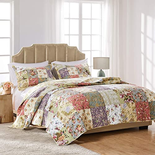 Greenland Home GL-0809CMSK Blooming Prairie 100% Cotton Authentic Patchwork Quilt Set, 3-Piece King/Cal King