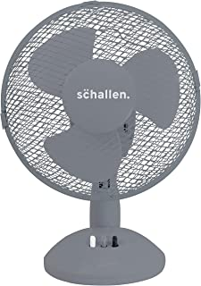 """Schallen Small 9"""" Portable Desk Table Oscillating Cooling Fan with 2 Speed Setting & Quiet Operation (Grey)"""