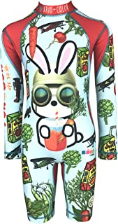 KRIO COLOR Boys Onepiece Sunsuit Swimsuit with Long Sleeves and UV Protection