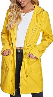 Raincoat Women, Fahsyee Rain Jacket Waterproof Raincoat Hooded Windbreaker Outdoor Long Active