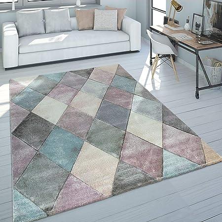 Kurzflor-Teppich Für Wohnzimmer Bunt Abstrakte Rauten-Optik In Pastellfarben