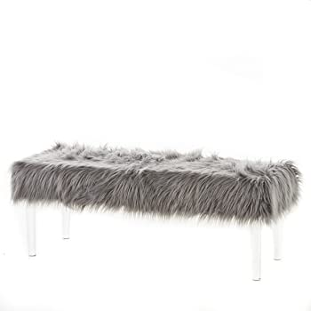 Christopher Knight Home Karren Glam Faux Fur Short and Straight Furry Ottoman with Clear Acrylic Legs, Grey / Clear