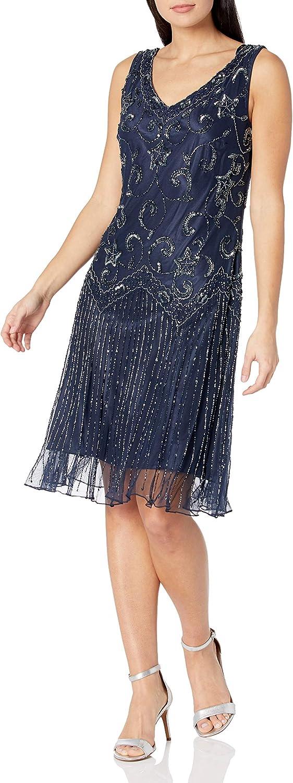 J Kara Women's Petite Sleeveless Floral Beaded Short Dress