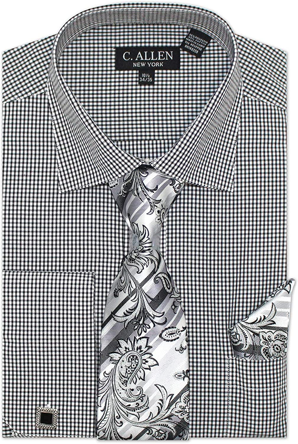 Men's Regular Fit Dress Shirts with Tie Hanky Cufflinks Set Combo French Cuffs Check Pattern