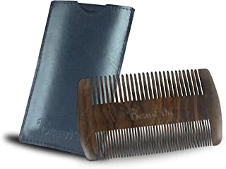 BEARD DO - Dual Action Wooden Beard Comb & Case - Natural Black Sandalwood Anti-Static and Hypoallergenic Wood Pocket Comb - For Long and Short Beards & Mustaches with Fragrance Scent BEARD DO