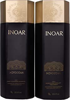 INOAR PROFESSIONAL - Moroccan Deep Cleansing Shampoo & Keratin Treatment - The Perfect Combination to Hydrate & Smooth Your Hair (33.8 Fluid Ounces / 1000 Milliliters)
