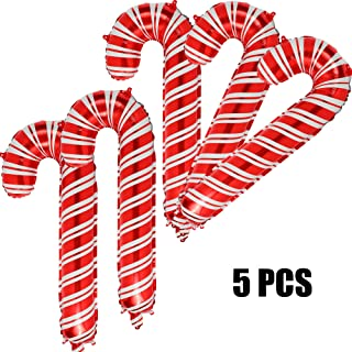 5 Pcs Christmas Candy Cane Foil Mylar Balloons Big Xmas Birthday Party Decoration Supplies Red and White Holiday Balloons for Xmas Home Party Decoration