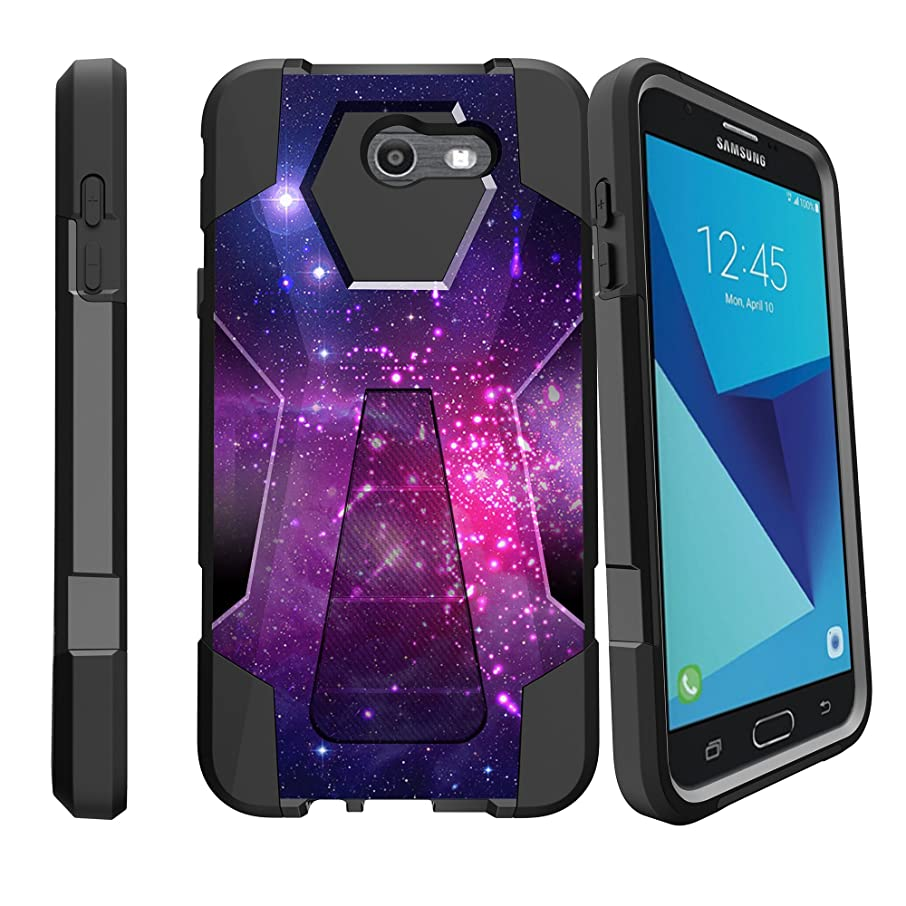 MINITURTLE Case Compatible w/ SHOCK FUSION Case for [Samsung Galaxy J7V, Samsung Perx, J7 (2017), Sky Pro Star Case] High Impact Hybrid Dual Layer Case w/ Stand Heavenly Stars