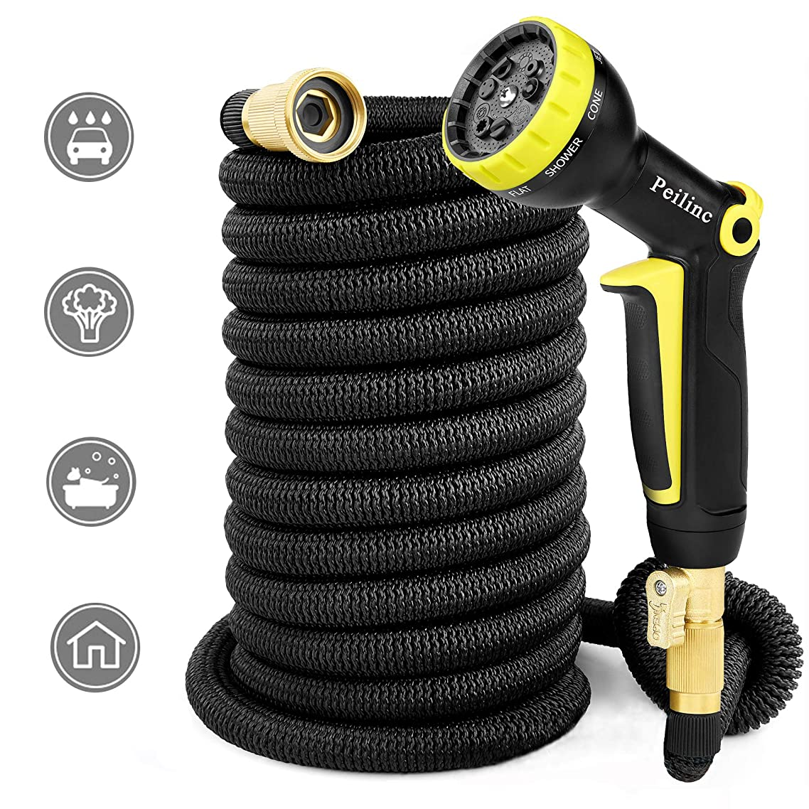 50FT Expandable Garden Hose Black – Brass Household Telescopic Water Pipe 9-Mode Nozzle, Cleaning Gardening Watering Pipe, High Pressure Watertight