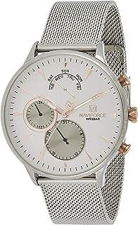 ساعة نافي فورس للرجال مينا فضي شبكة ستانلس ستيل وانالوج كلاسيك - NF3010-SW
