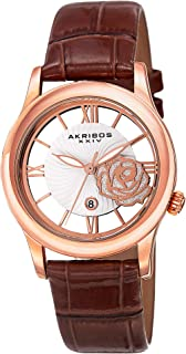 """Akribos XXIV Women's Crystal Watch - See Thru Roman Numerals Cut Out Crystal Rose Dial Wave Pattern """"Floating"""" Dial with Date On Crocodile Embossed Leather Strap - AK837"""