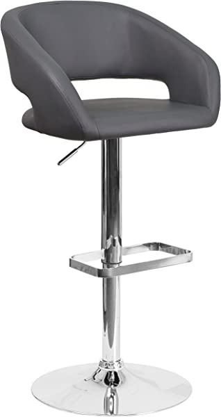 Flash Furniture Contemporary Gray Vinyl Adjustable Height Barstool With Rounded Mid Back And Chrome Base