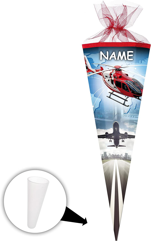 Alles-meine  GmbH 10 Stück _ Schultüten -  Helikopter - Flugzeuge   Hubschrauber  - 50 cm - rund - incl. Name - mit Tüllabschluß - Zuckertüte - mit   ohne Kunststoff Spitze -.. B07D2LSRPJ   Kaufen Sie beruhigt und glücklich spiel