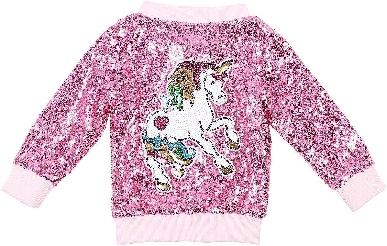 ANATA Girl Unicorn Sequin Jacket Kids Casual Bomber Jacket Zipper Coat Outwear