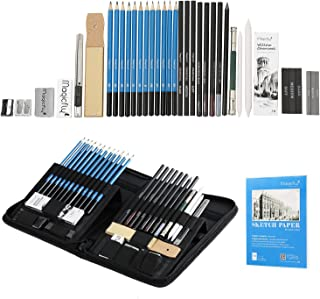 Charcoal Drawing Set 41 Pcs, Magicfly Art Kit and Supplies SKetching Pencils for Shading with Sketch Book, Kit Bag, Tools, Erasers, Pro Graphite Drawing Pencil Kits for Adults, Kids