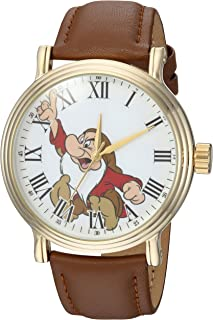 DISNEY Men's Snow White Analog-Quartz Watch with Leather-Synthetic Strap, Brown, 22 (Model: WDS000341)