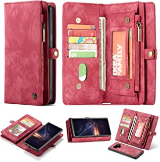 Galaxy Note 9 Wallet Case,AKHVRS Premium Leather Folding Flip Wallet Case Cover for Note 9 Card Slots Magnetic Closure Protective Cover Detachable Wallet Folio for Samsung Galaxy Note 9 Red