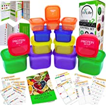 21 Day Portion Control Container kit - (14 Pieces Labeled) + Complete Guide + 21 Day Planner eBook + Recipe eBook, BPA Fre...