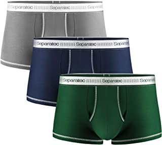 Separatec Men's Underwear Soft Combed Cotton and Supima Boxer Trunks with Separated Pouches and Fly 3 Pack Breathable and ...