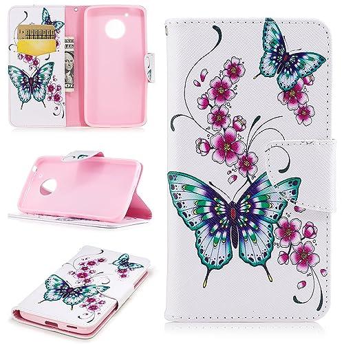 COZY HUT Motorola Moto G5 Plus Case,Motorola Moto G5 Plus Case Leather,Motorola Moto G5 Plus Case Wallet Flip for Motorola Moto G5 Plus Model - Peach butterfly