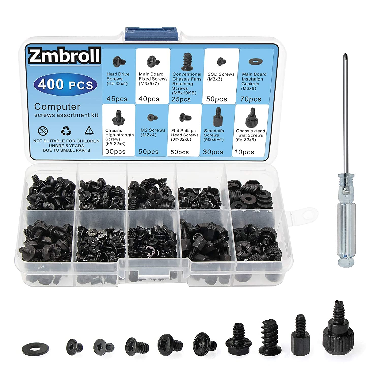 Zmbroll 400Pcs Computer Screws Standoffs Kit SSD Screw for Universal Motherboard PC Computer Case Screw Fan CD-ROM with Screwdriver