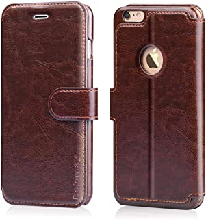Belemay iPhone 6S Case, iPhone 6 Case, Genuine Cowhide Leather Wallet Case, Flip Folio Book Cover Magnetic Closure, Card Holder Slots, Kickstand, Cash Pockets Cpmpatible iPhone 6 / iPhone 6s, Brown