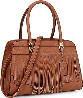 Womens Fringe Handbag Structured Top Handle Satchel Shoulder Bag