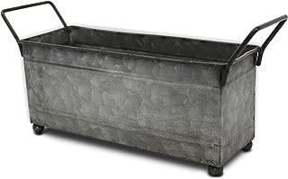 Urban Legacy Metal Storage Bin, Small with Handles, (Galvanized, Decorative, Perfect Napkin Holder or Succulent Planter)